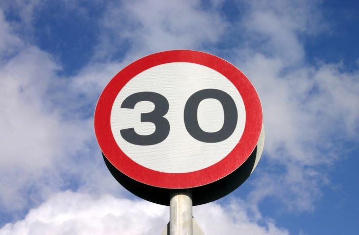 30 miles an hour speed limit sign