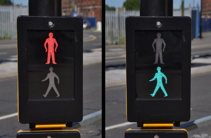 pedestrian traffic lights, red and green walk sign (road background)