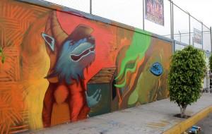 """Mural """"El Lobo y su caja mágica"""" de Miguel Angel Montaño """"Poskeone"""", pintado para el """"Meeting of Styles"""" 2012."""