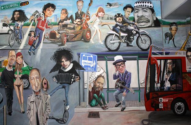 """Mural """"Un viaje por el Rock & Roll"""" del Metro Auditorio."""