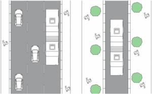 Antes (izquierda), Después (derecha) Foto: Plan Integral de Movilidad, Municipalidad de Santiago.